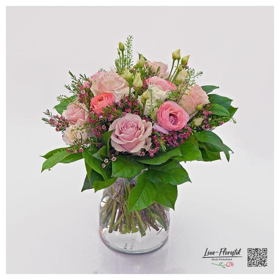 Blumenstrauß mit Rosen, Lisianthus und Ranunkeln